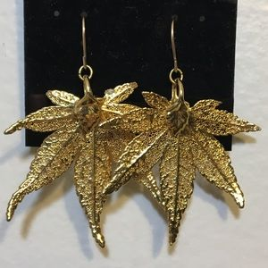 Gold Electroplated Real Cannabis Leaf earrings